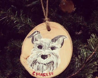 Custom Pet Ornament, Wood Slice Ornament, Painted Ornament
