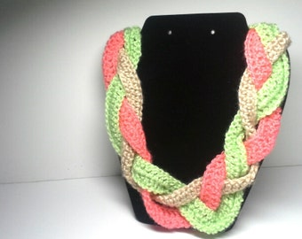 Pink Green and Tan Braided Crocheted Necklace