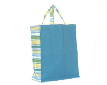 Shopping Bag, Canvas, reusable, teal and stripe