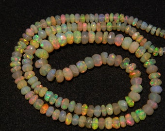Ethiopian Opal Bead, Welo Opal, Faceted Ethiopian Opal Beads, Rondelle Beads, 3.5mm To 7mm Beads, 15 Inch Strand