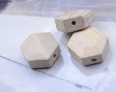 20 Natural Wooden Beads / Unfinished Geometric Faceted Wood Beads 22mm x 10mm