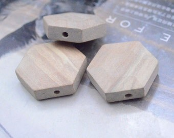 Natural Wood Bead / Round Unfinished Geometric Faceted Wooden Beads 31mm x 11mm