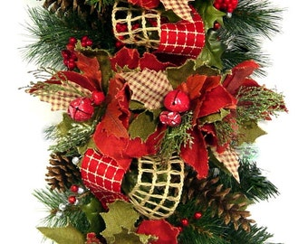 Christmas Country Rustic Burlap Poinsettia Jingle Bell Swag Centerpiece Garland Wreath by Cabin Cove Creations
