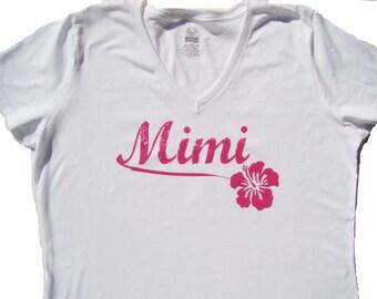Mimi tee shirt, tops and tees- MIMI Hawaiian Hibiscus flower shirt - Mimi gift