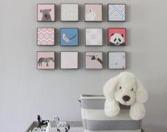 boho nursery art, kids wall decor- twelve set of 5x5 art blocks- kids room decor- modern wall art for kids geometric decor- redtilestudio
