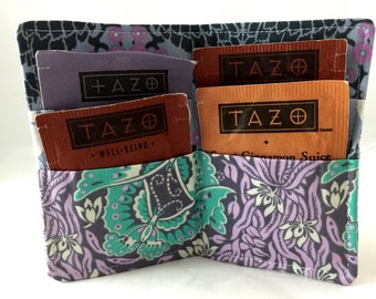 Tea Bag Wallet Holder - Amy Butler Violette French Twist in Zinc - Ready to Ship