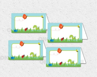 Bug, Butterfly, Bee, Beetle, Caterpillar, Ladybug, Spring Place Buffet Cards, Foldable Tent Cards, Blank, You Fill Out, DIY Digital File