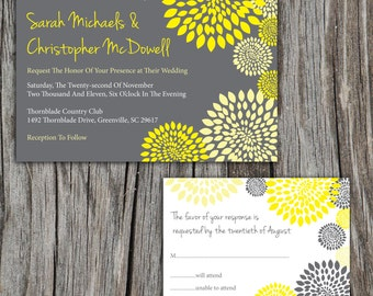 Modern Floral Printable Wedding Invitation and RSVP Reply Card, Pick Your Colors, DIY Digital Files