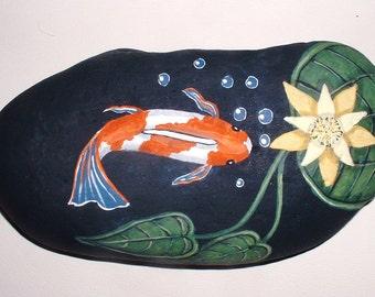 Koi fish pond hand painted rock for home patio garden decor for Koi pond rocks