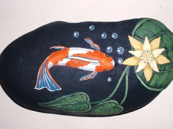 Koi fish pond hand painted rock for home patio garden for Koi pond rocks