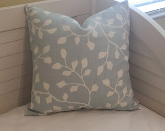 Sarah Richardson for Kravet Woodlawn in Oxford Blue Linen Designer Pillow Cover -Square and Lumbar Sizes
