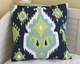 Duralee Aegean  Ikat Medallion (Both Sides) Designer Pillow Cover with or without Piping - Square, Euro and Body Pillow Cover