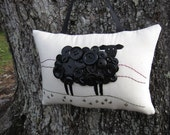 Ireland Black Sheep, St. Patrick's Day, Primitive Embroidery Pillow, Irish Sheep, Original Design OOAK, Door Hanger, Vintage Buttons, HAFAIR