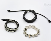 Rock Me - 1/3 BJD bracelets for Dollfie. Sexy spikes, gothic rock look, adjustable, black and silver