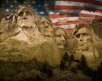 Presidential Faces on Mount Rushmore National Memorial granite sculpture with American Flag in South Dakota No.05152 Landscape Photograph