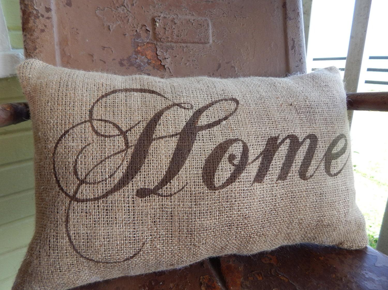 Home Decorative Painted Burlap Throw Accent Pillow Custom