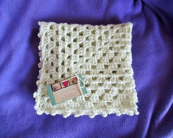 SALE/CLEARANCE...  Mini baby blanket, stroller blanket, travel afghan, 18 inch x 18 inch