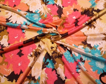 Melon, Turquoise and Banana Yellow Floral Print Pure Silk Jersey Knit Fabric--One Yard