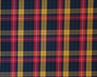 Classic Red Hunter Green and Yellow Tartan Plaid Fine Twill Cotton Shirting Fabric--One Yard