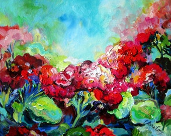 Landscape Painting Original Art Geraniums 16 x 20 by Elaine Cory