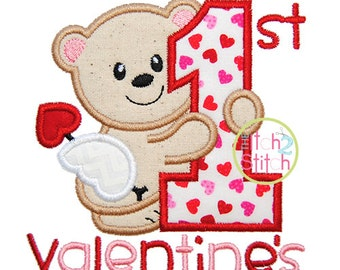 First Valentine's Applique,  Sizes 4x4, 5x5, 6x6 & 7x7 INSTANT DOWNLOAD available