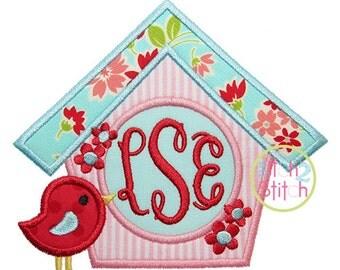 """Birdhouse Monogram Applique Design, Shown with our """"Fancy Oval"""" Font NOT Included Hoop Size 4x4, 5x7, and 6x10  INSTANT DOWNLOAD available"""