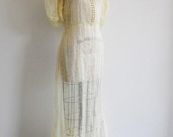 60s/Small/Yellow Dot Maxi Dress