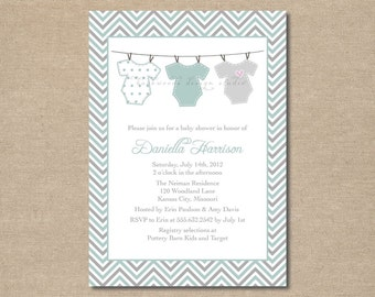 DIY / Onesie Clothesline Baby Shower Invitation / printable