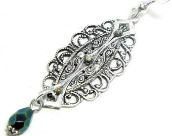 Art Deco filigree earrings, silver filigree, Edwardian earrings, green crystal, Downton, long filigree