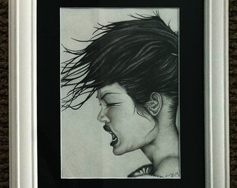 Graphite portrait of a Girl 8x10 portrait size framed and matted finished size 11x14 Girl with Crazy Hair Style nikkiMdesign