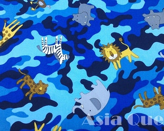 "Lion,hippo,elephant,giraffe,zebra,ostrich - blue - 1 yard - cotton,camouflage patterns,animal,coupon code ""5YEAR"" to save 20% off"
