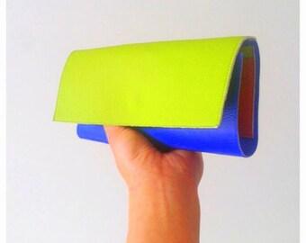 Green Wallet women - Vegan Wallet Womens - cobalt blue clutch wallet - iPhone wallet - credit card leather holder - eye catch wallet