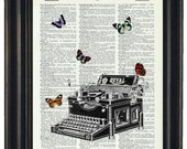 BOGO Sale Typewriter with Butterflies  Dictionary Art Print with A HHP Original with HHP Signature Butterflies  Dictionary Prints