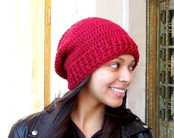 Crochet Slouchy Hat, Women, Teen, Men, Claret, Dark Red