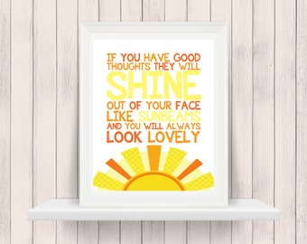 If You Have Good Thoughts They Will Shine | Roald Dahl | Nursery Art | Wall Art | Nursery Decor | 5x7 | 8x10 | 11x14 | 16x20