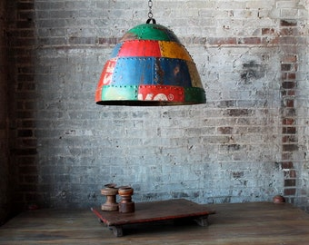 SALE Large Industrial Rustic Hanging Multi-Color Reclaimed Iron Light Fixture Lamp Shade Pendant