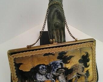 Decoupage Handbag Up-Cycled Vintage Purse Asian Dragons