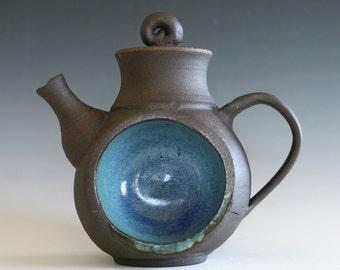 DISCOUNTED DECORATIVE TEAPOT- Blue Moon Teapot, Handmade Stoneware Teapot, Ceramic Teapot, wheel thrown teapot, pottery teapot