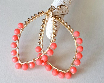 Peach Coral Hoop Earrings, Gold Marquise Hoops, Wire Wrapped Coral Earrings, Peach Gold Hoops, Boho Coral Hoops:  Ready to Ship