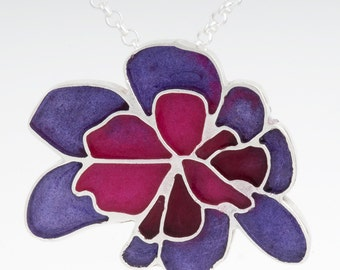 Sterling Silver and Resin Flower Pendant: Resinate Wisha Pendant- Purples