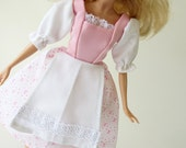 Barbie Peasant dress: Baby Pink Stripes of Vines