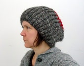 Unisex Mens Slouchy Ribbed Hat Chunky Soft Wool Brown Gray Red Tweed Adult Large Extra Large Size