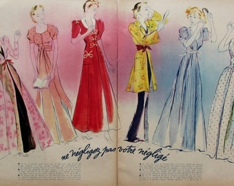Vintage Négligé' Fashion published in french magazine dated july 1937
