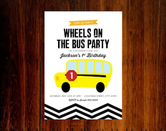 set of 12 - Wheels on the Bus Birthday party invitation