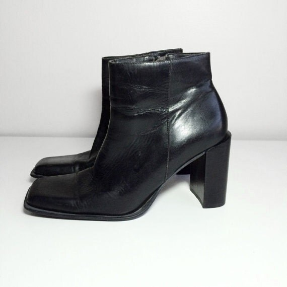 90s black leather square toe boots size 8