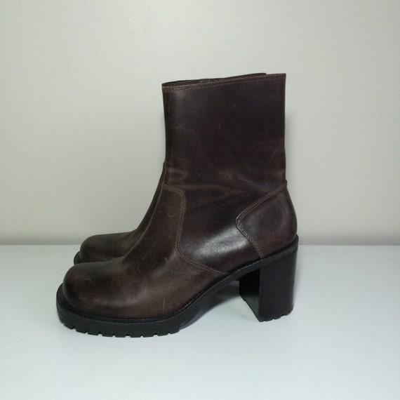 90s womens platform grunge brown leather sketchers boots