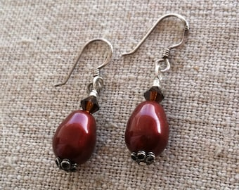 Cranberry Pearl Earrings- Swarovski Crystal and Oxidized Silver Dangle Earrings