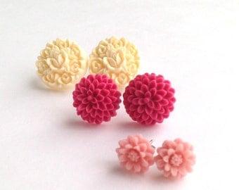 Flower Post Earring Set, three pair set of flower studs - daisy, mum, primrose. Pink, cream, maroon. silver Stud.