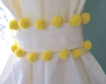 Yellow Pom Pom Trim White Cotton Curtain