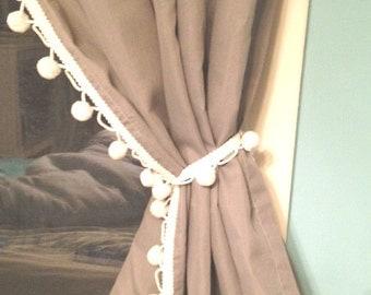 Grey curtain with Vintage White Pom Pom Trim